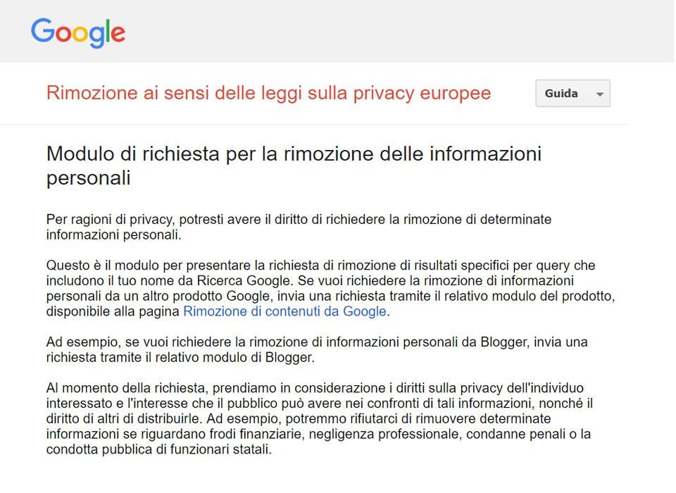 Come cancellare dati personali su Google