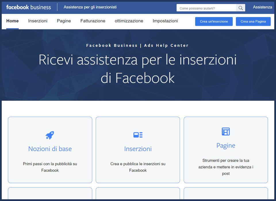assistenza facebook chat ads