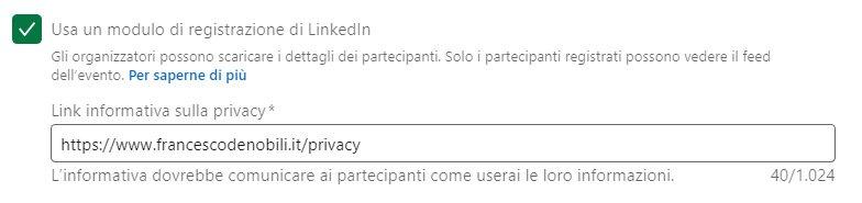 creare modulo contatti linkedin